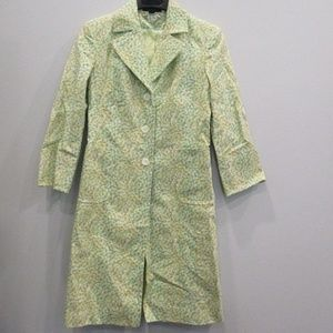 Express Floral Trench Coat Small Green/Blue/White